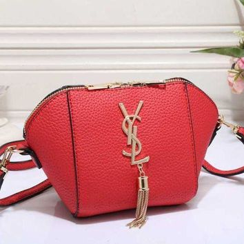 DCCKB62 YSL Fashion Women Shopping Crossbody Satchel Leather Shoulder Bag Red