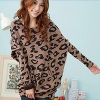Fashion Women's Batwing Sleeve Tops Shirts Leopard Print Blouse Mini Dress