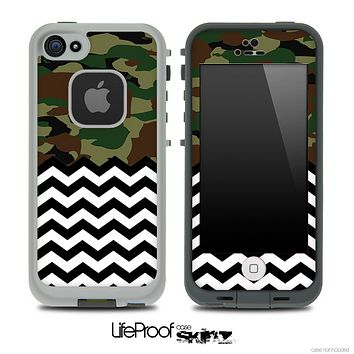 Mixed Traditional Camouflage and Chevron Pattern Skin for the iPhone 5 or 4/4s LifeProof Case