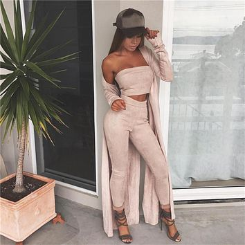 2016 Autumn Elegant Women Rompers Jumpsuit sleeveless Suede Two Pieces Outfits Bodysuit off shoulder Sexy Club Bodycon Playsuit