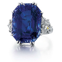 Natural 41.80 Carat Blue Sapphire Diamond Platinum Ring