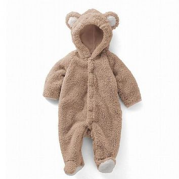 Newborn Infant Animal Bear Romper Baby Costume Hooded Flannel Infant Romper Toddler Jumpsuit Clothes Boy Girl Baby Romper Suit