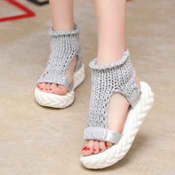 Women Sandals 2017 Summer shoes Sandals on the platform flip flops gladiator Bottom Women Shoes footwear heeled 688W