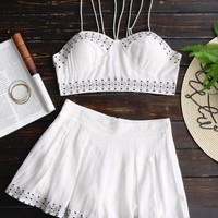 Bralette Lace Up Top and Embroidered Shorts Set
