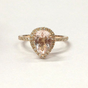 Morganite Engagement Ring 14K Rose Gold!Diamond Wedding Bridal Ring,6x8mm Pear Cut Pink Morganite,Halo Thin Design,Can make matching band