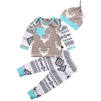 3PCS Newborn Baby Clothes 0-24M Infant Bebes Deer Long Sleeve Top Shirt Floral Pant Hat Baby Boys Girls Clothing Set