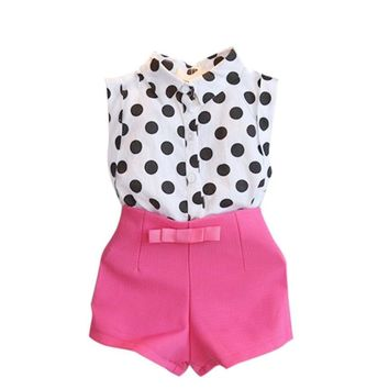 2 piece set girls clothes set summer Girl Child Kid Polka Dot T-shirt Tops + Pink Bowknot Shorts