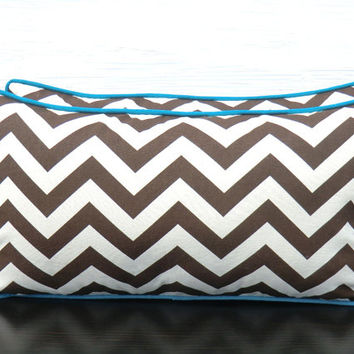 Brown chevron pillow case  21x11, geometric cushion cover for dorm room decor, brown couch pillow, chevron lumbar cover , small chair pillow