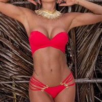 Lace-up  Ring Cross Swimsuit One-piece Swimwears Black/Red