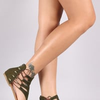 Bamboo Suede Side Elastic Lace Up Thong Flat Sandal