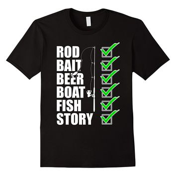Rod Bait Beer Boat Fish Story Fishinger T-Shirt T Shirts Man Clothing Free Shipping Top Tee 2018 Brand T Shirt Homme Tees