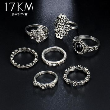 17KM Retro Hollow Flower Finger Ring Set for Women Punk Style Vintage Tibetan Knuckle Rings Party Jewelry Accessories 7PCS/Lot