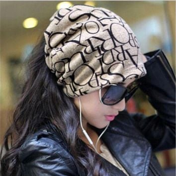 IKCKU62 New Warm Women Hat Female Cap Hip-Hop English Letter Multi Purpose Baggy Hat Knitted Letter Beanies