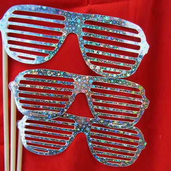 Glasses on a Stick  Silver Holographic Stars by livelaughlovelots