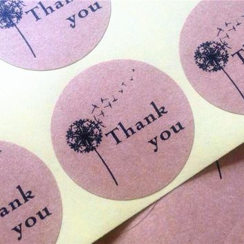 100pieces Dandelion Thank you Self Adhesive Kraft Baking Seal Sticker Gift Label Round Labels FOR DIY Paper Bag