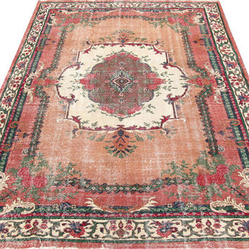 Sale Salmon Field White and Brown Medallion Turkish Vintage Rug With French Design 9'10'' x 7'3'' Free Shipping