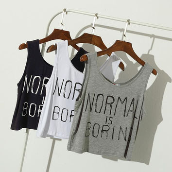 2016 Summer women tank tops NORMAL IS BORING letter print casual loose Sports sleeveless vest women crop tops midriff tops