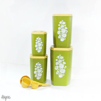 Retro Floral Canisters • Mod Floral Canister Set • Green + White • Vintage Kitchen Canisters • 1960s Kitchen Storage • Daisy Design