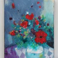 "Original Abstract Floral Still Life on Small Canvas Acrylic Painting ""Red Poppies in a Vase"""