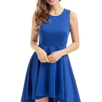 Royal Blue Pleated Hi-low Hem Skater Dress