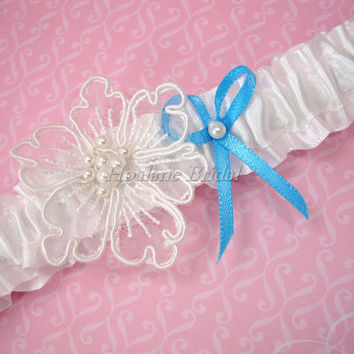 Garter, White Satin Ribbon Garter with lace flower and blue ribbon bow, Toss Garter, Wedding Garter
