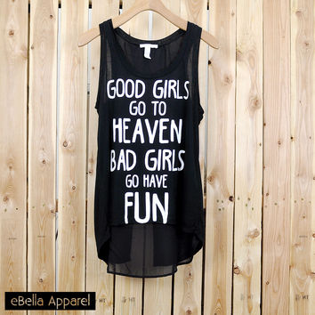 Good Girls / Bad Girls - Women's Flowy High Low Black, Graphic Print Tank Top