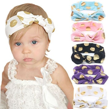 b23e1ac4421 1PCS Baby Girl Lovely Bow Headband Flowers Polka Dot Hairband Tu