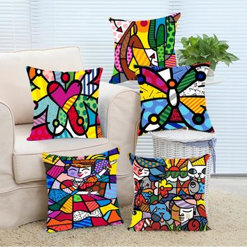 New Arrival Custom Fashion Colorful Butterfly Romero Britto Pillowcase DIY Pillowslip Home Bedding Set Pillow Case Cover