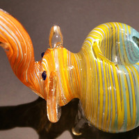 Multicolor Swirl Elephant Hand Blown Glass Smoking Pipe Spoon Style Bowl Glass