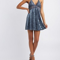 Lace Lined Velvet Shift Dress | Charlotte Russe