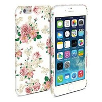 iPhone 6 Case, GMYLE Hard Case Print Crystal for iPhone 6 (4.7 Display) - White Floral Pattern Slim Fit Snap On Protective Hard Shell Back Case