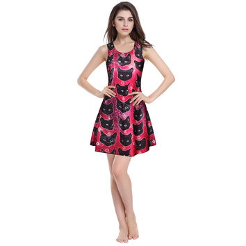 Strong Character Cats 3D Print Stylish Sexy Summer Vest Dress One Piece Dress [6049063233]