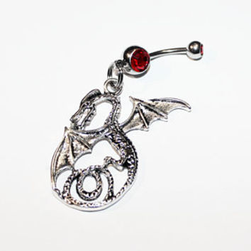Dragon Belly Button Ring, Mythology, Fantasy, Body Jewelry, Medieval, Dragons, Navel Piercing
