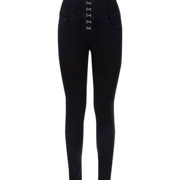 Black Hook and Eye High Waist Skinny Yazmin Jeans | New Look