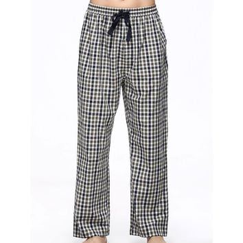 Men's Soft Pure Cotton Plaid Lounge Pants Sleep Trousers