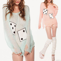 Wildfox Inspired Roll The Dice Distressed Sweater Jumper