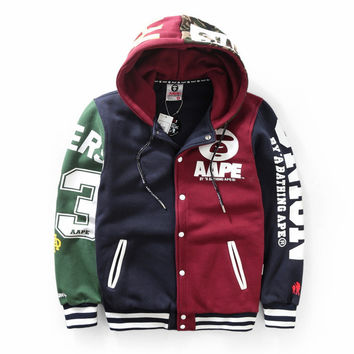 Unisex Winter AAPE Fashion Patchwork Casual Hats Jacket [9555842247]