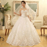 2014New White/ivory Lace Slim CrystalWedding Bridal Gown Dress Custom Size S M L