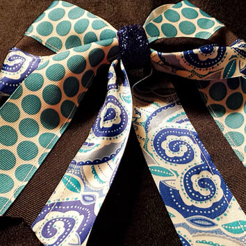 Cheer Bow, Softball Bow, Sports Bow -(Royal, Black and Aqua) custom made and can be embroidered with initials or name.