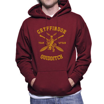 Custom Number and name on back, Gryffindor Quidditch team Captain Yellow print printed on Maroon Hoodie