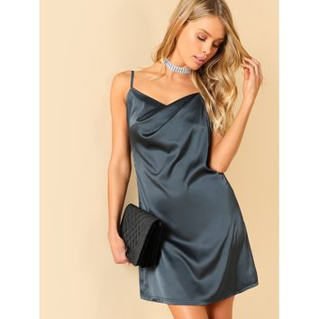 Open Back Solid Cami Dress
