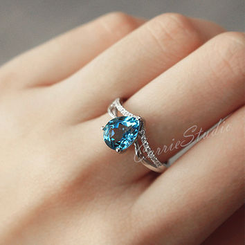 CarrieStudio Customize Pear Natural Blue Topaz Ring Engagement Ring/ Wedding Ring Sterling Silver Ring Anniversary Ring Promise Ring