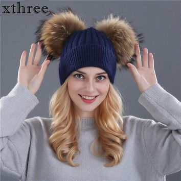 DCCKU62 Xthree winter hat for women wool knitting beanies natural fur double pom poms Skullies girls hat feminino