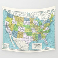 United States Map Tapestry Wall hanging - US map, dorm travel decor, office, den, dorm, apartment