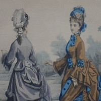 "19th Century French fashion print. Coloured lithograph published by ""The Young Englishwoman"" in 1860s"