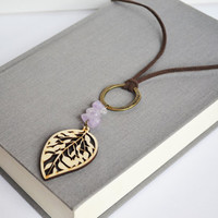 Cutout Wood Necklace. Hippie Woodland Leaf Jewelry. Purple Quartz Stone. Suede Brown Cord Necklace.
