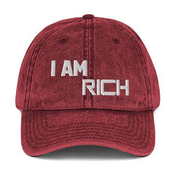 """"""" I AM RICH"""" Positive Motivational & Inspiring Quoted Embroidery Vintage Cotton Twill Cap"""