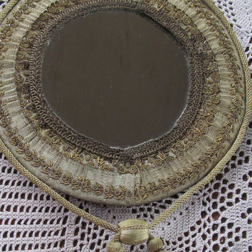 Gorgeous 1800s Antique Victorian Mirror  Hand Beaded Mirror with Tassles Edwardian Mirror Victorian Parlor wall Decor