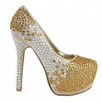 Bella Luna LOUSIA-20 Rhinestone Embellished Pumps   Women Pumps and Heels GOLD Bare Feet Shoes