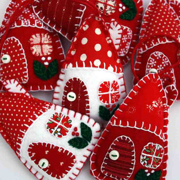 Felt Christmas ornaments, 3  Red and white patchwork houses, Handmade felt ornaments,  Scandinavian ornaments,Holiday decor, Valentines gift